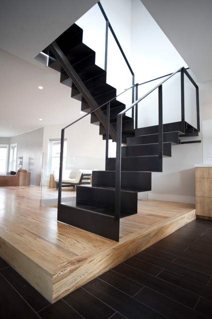 Steel stair for Modern house exterior stairs