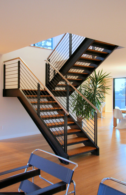 Steel Staircase Modern Staircase Seattle By Alcova Architecture