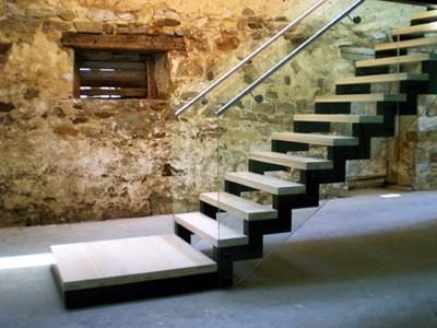 Stone Barn   Main Stair Modern Staircase