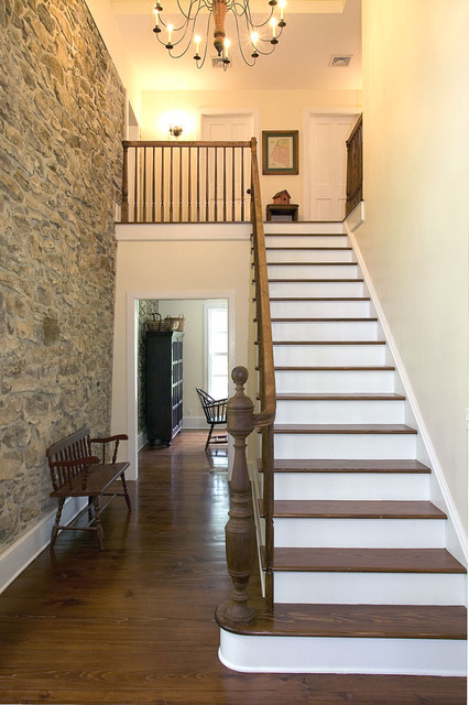 Two Story Entrance Foyer : Stone farmhouse conversion staircase new
