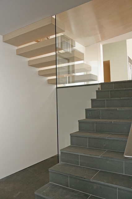 Stone Floating Stairs Amp Glass Rail Modern Staircase