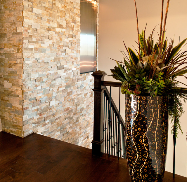 Stone Veneer Wall Contemporary Staircase