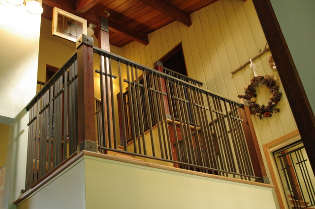 Stone Wood Steel Interior Railing Traditional Staircase