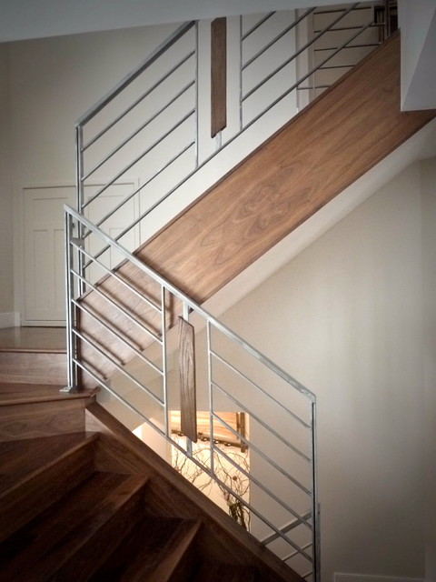 Stone Wood Steel Interior Railing Contemporary Staircase