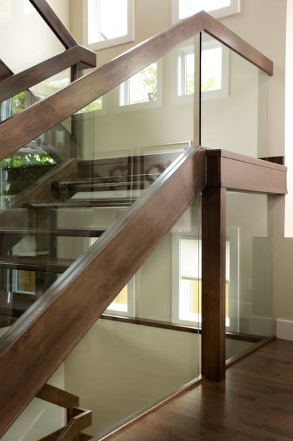 Attractive Straight Maple Stair With Glass Panel Railing Contemporary Staircase
