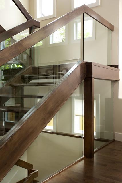 Staircase   Contemporary Wooden U Shaped Open Staircase Idea In Edmonton