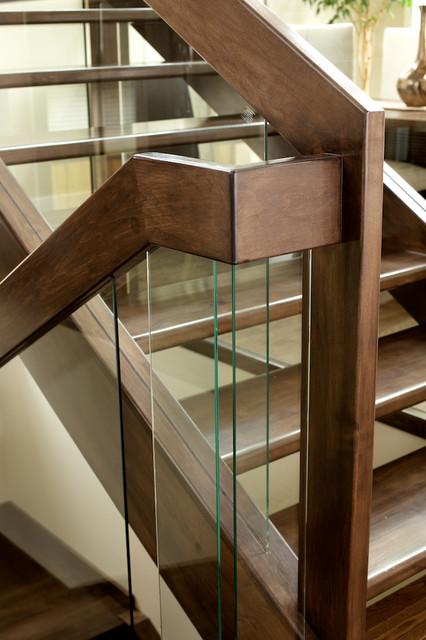Straight Maple Stair With Glass Panel Railing Contemporary Staircase Edmonton By