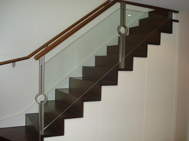 Straight Stairs With Glass Panels contemporary-staircase