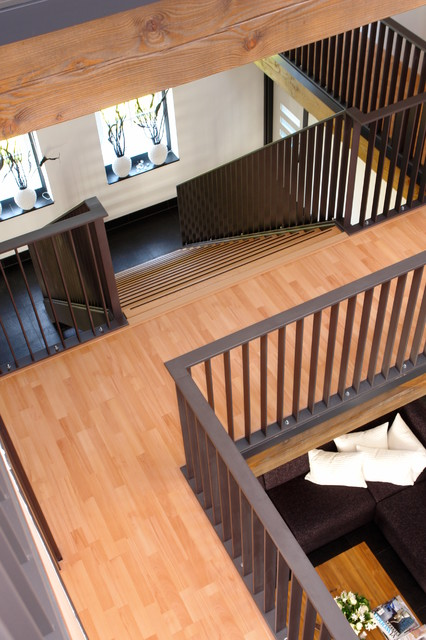 Straight Stairs With Wood Treads And Black Railing Contemporary Staircase