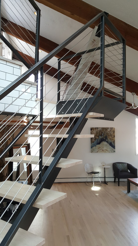 Stringer and Cable Railings. - Industrial - Staircase ...