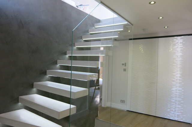 Tailor Made Hanging Beton Cire Stairs And Feature Wall Modern