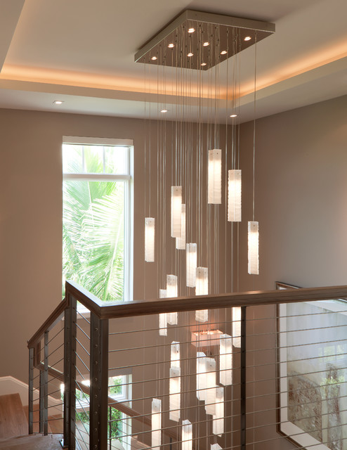Tanzania Chandelier Contemporary Living Room Stairwell