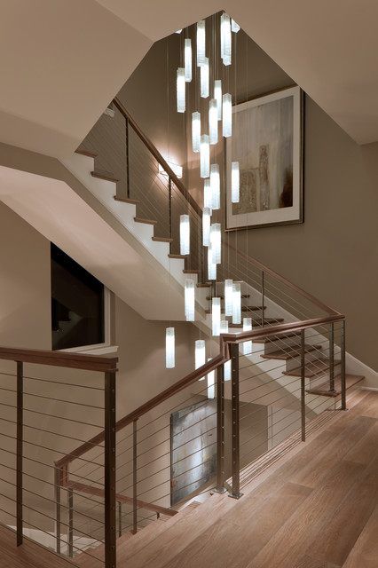 Tanzania chandelier contemporary living room stairwell for Pendant lighting for high ceilings