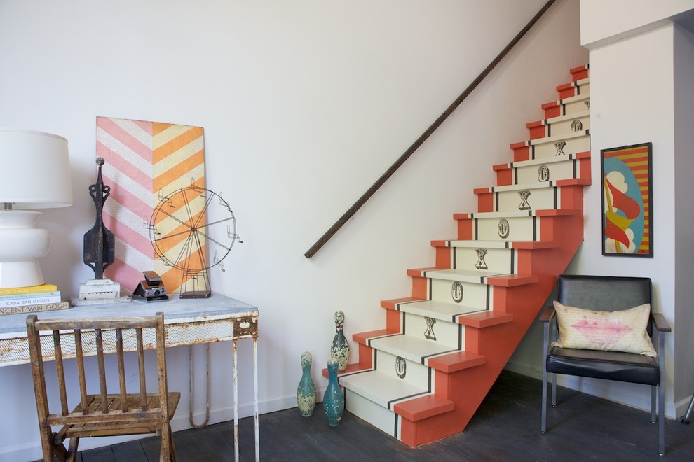 Eclectic painted straight staircase photo in San Francisco with painted risers