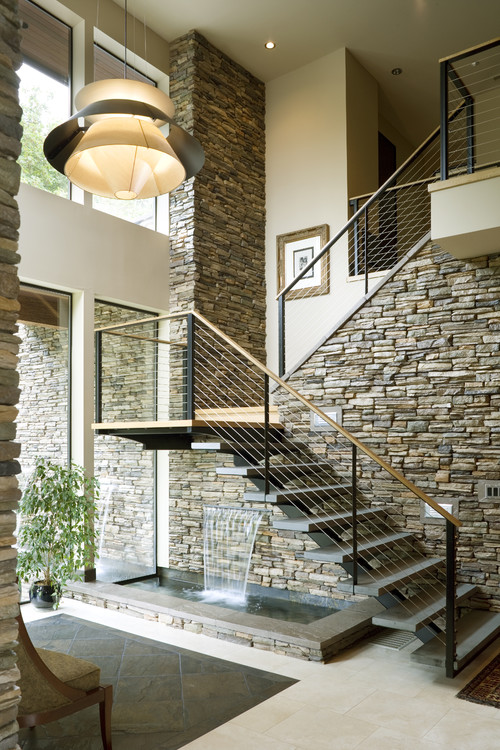 10 indoor water features that you 39 ll actually want in your for Exterior stone stairs design