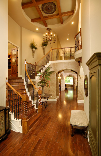 The falls traditional staircase houston by morning for Stair remodel houston