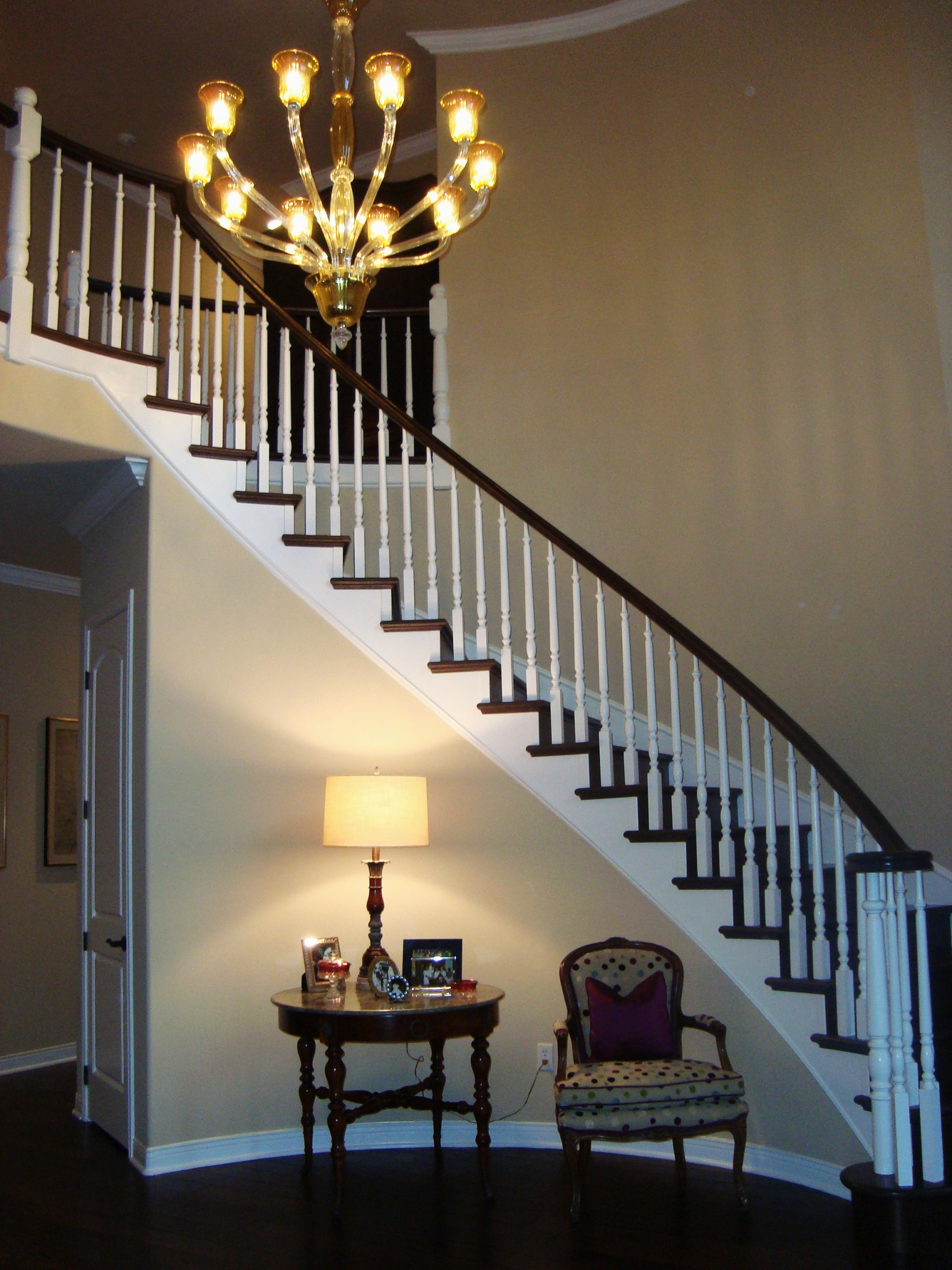 The NEW Nolan Entry Staircase with Venetian Glass Chandelier
