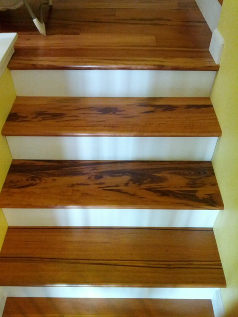 Tigerwood Hardwood Stairs Traditional Staircase