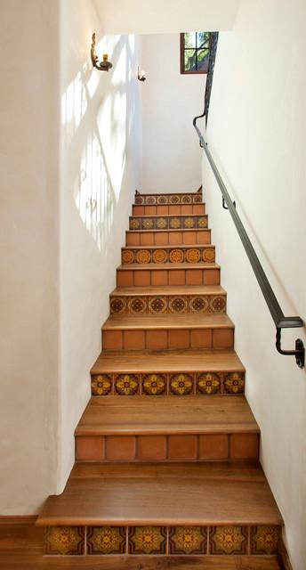 Tile Staircase Mediterranean Staircase Santa Barbara