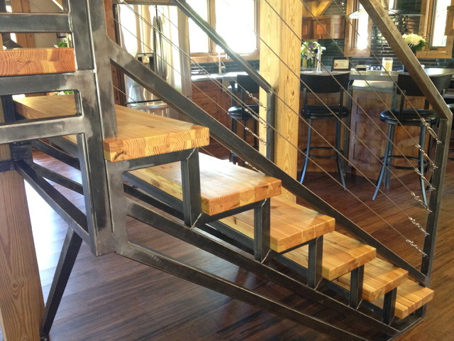 Timber Frame Hybrid Contemporary Staircase