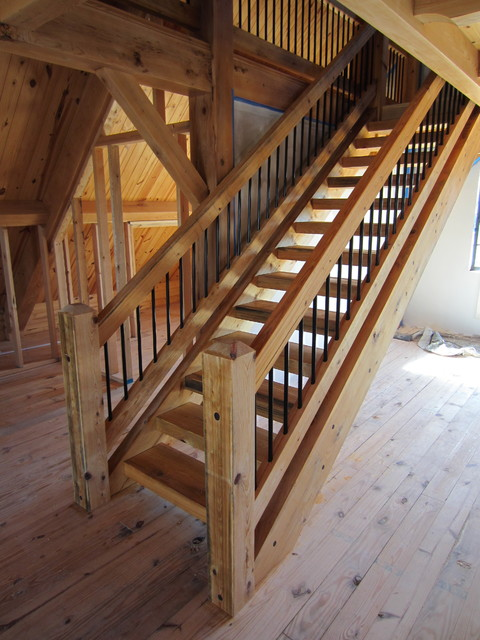 Timber Stair Amp Rail Contemporary Staircase Tampa By Heirloom Timber Framing