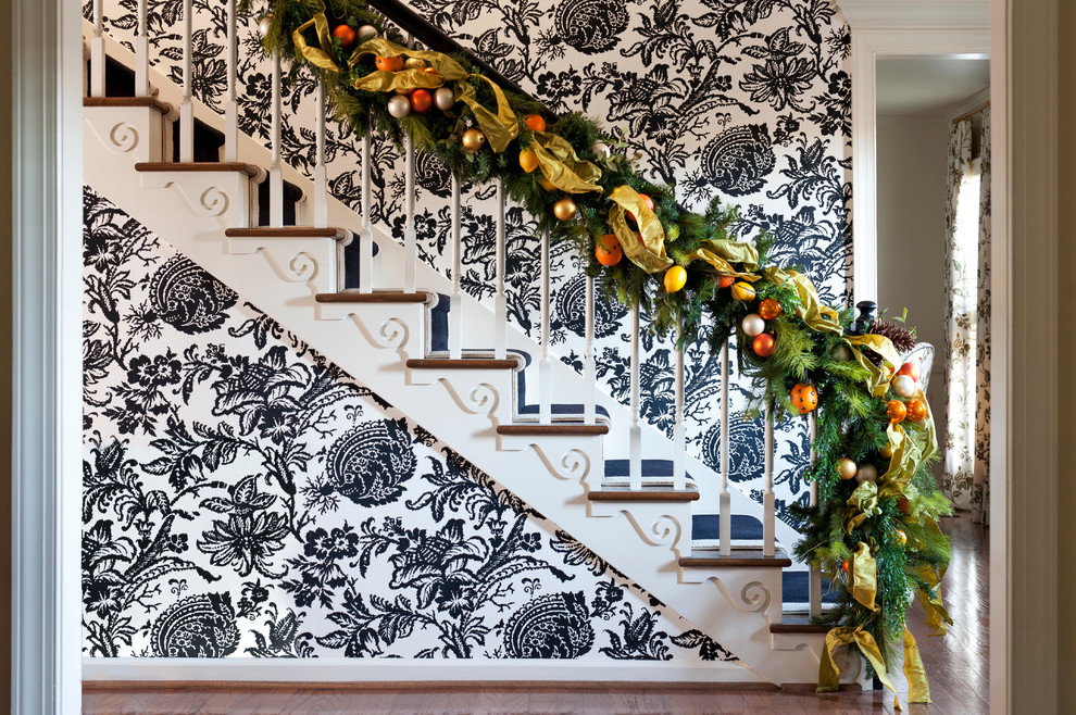 Inspiration for an eclectic wooden staircase remodel in Little Rock