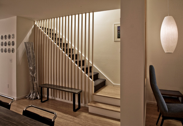 Townhouse renovation in san diego farmhouse staircase for Townhouse flooring ideas