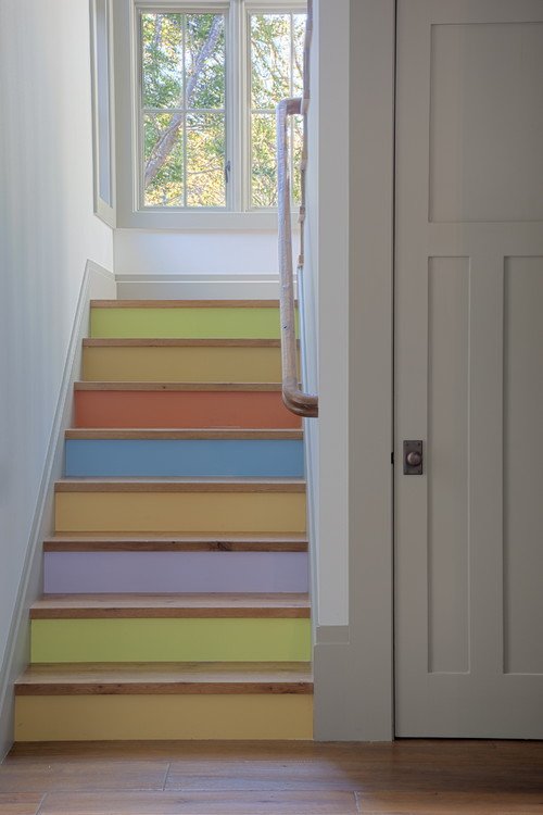 eclectic staircase Pretty in Pastels