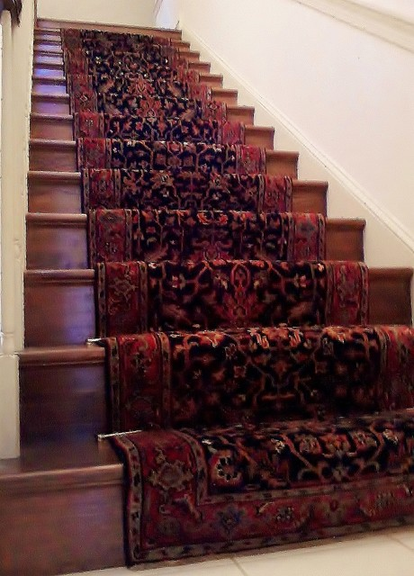 Traditional Hand Knotted Stairway Runner Installation Eclectic