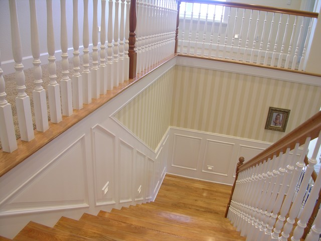 traditional stair with painted wainscoting - traditional - staircase - portland