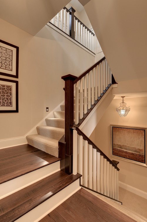 What Type Of Wood Is The Dark Stair Railing And Newel?