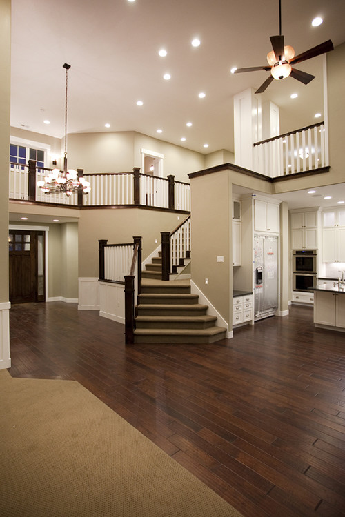 What is the taupe paint colour and brand for Hardwood floors upstairs