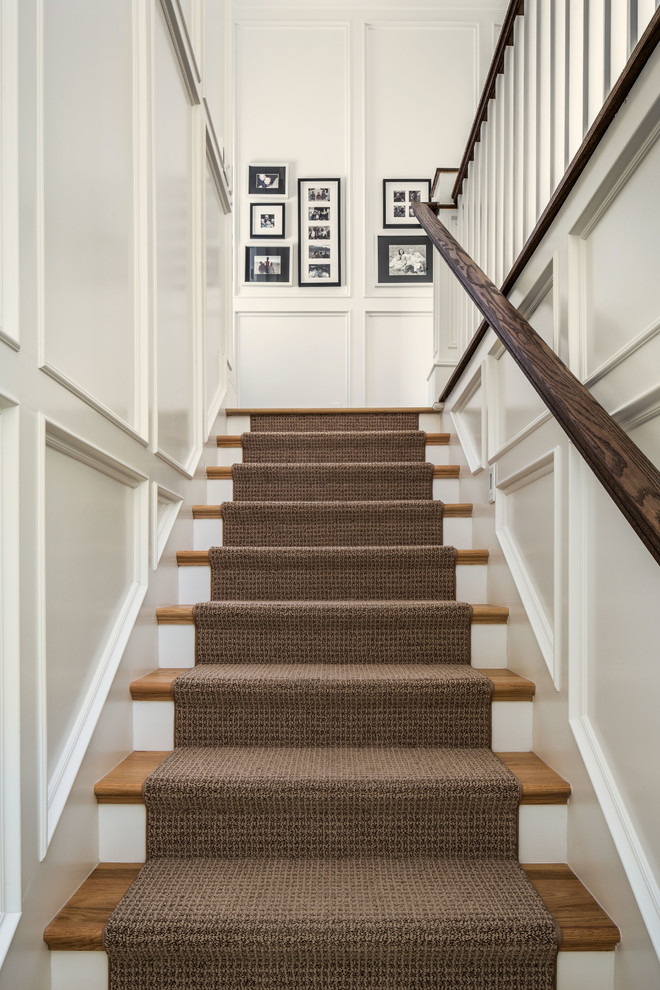Staircase - traditional wooden straight staircase idea in Salt Lake City