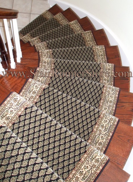 Curved Staircase Stair Runner Installation Traditional Staircase