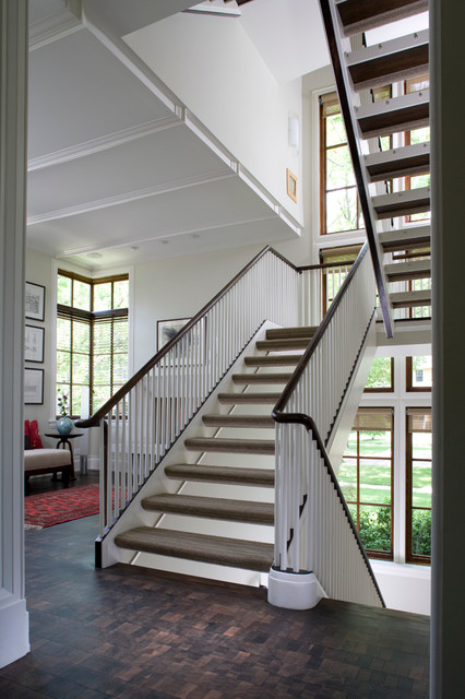 Transitional Corner traditional-staircase