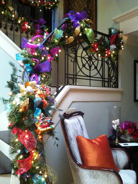 Christmas Decorations Transitional Staircase San