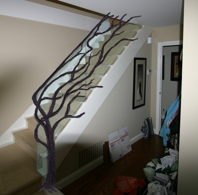 Tree Staircase Railing With Glass Eclectic Staircase