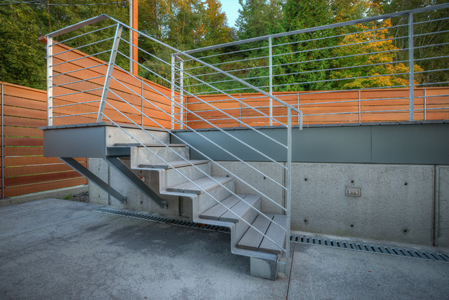 Stair to sun deck. contemporary-staircase