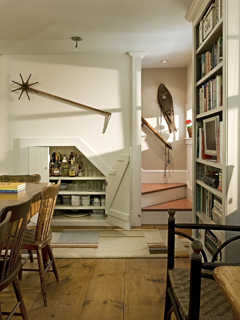Turning found objects into art and using space wisely traditional-staircase