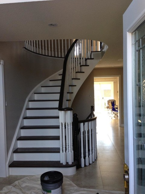 Two Tone Wooden Stair Case With Dark Stain amp White Paint