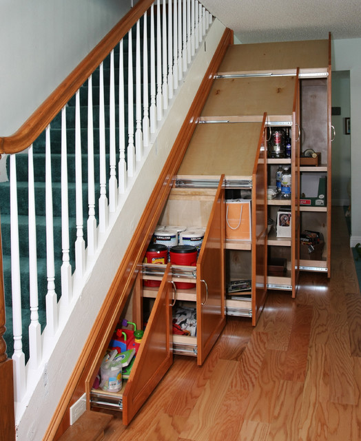 Under Stair Storage Traditional Staircase Orange County By