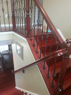 Update Wood Balusters To Wrought Iron Balusters Traditional