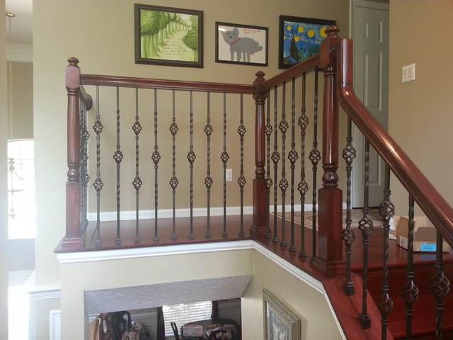 Updated Wood Balusters To Wrought Iron Balusters