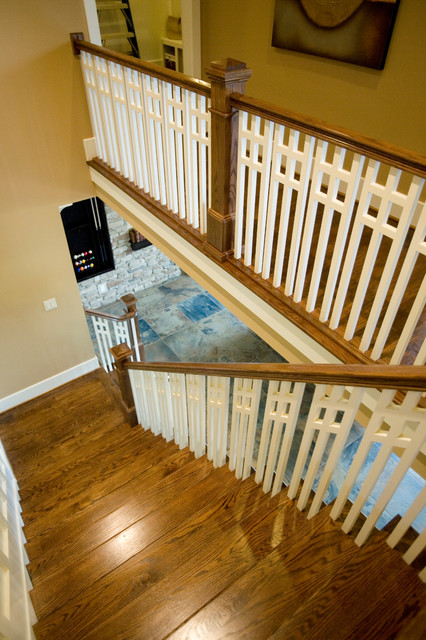 Upscale Arts & crafts inspired Home traditional-staircase