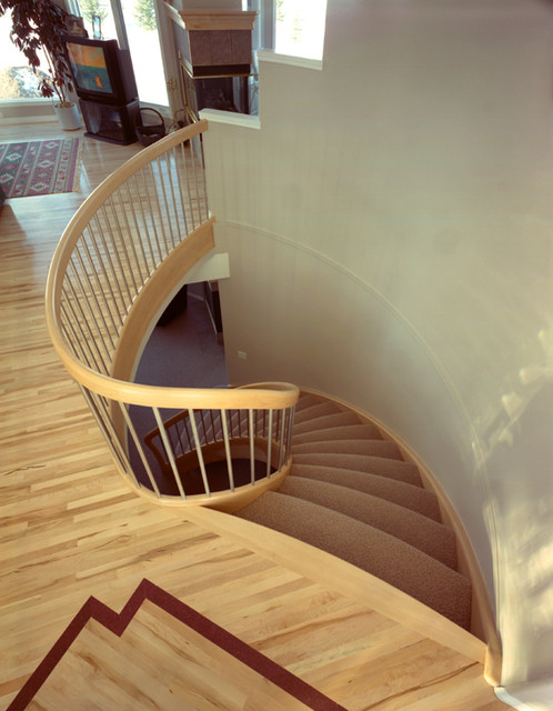 Upstairs One Side modern-staircase