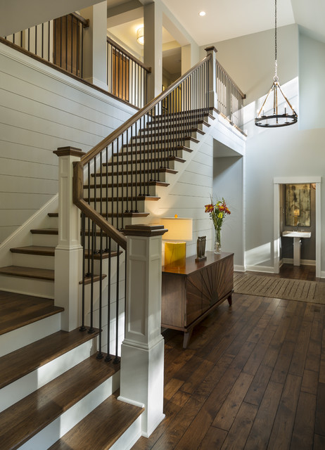 Delightful Urban Lake Cottage Transitional Staircase