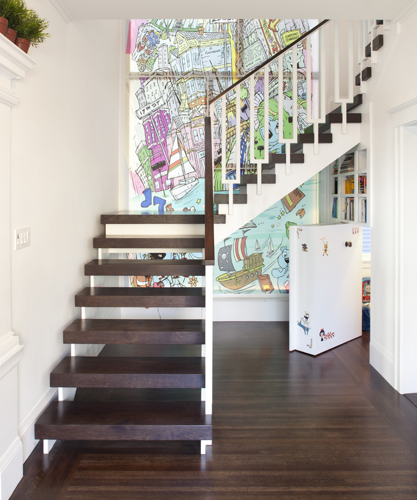 Inspiration for an eclectic wooden l-shaped open staircase remodel in San Francisco