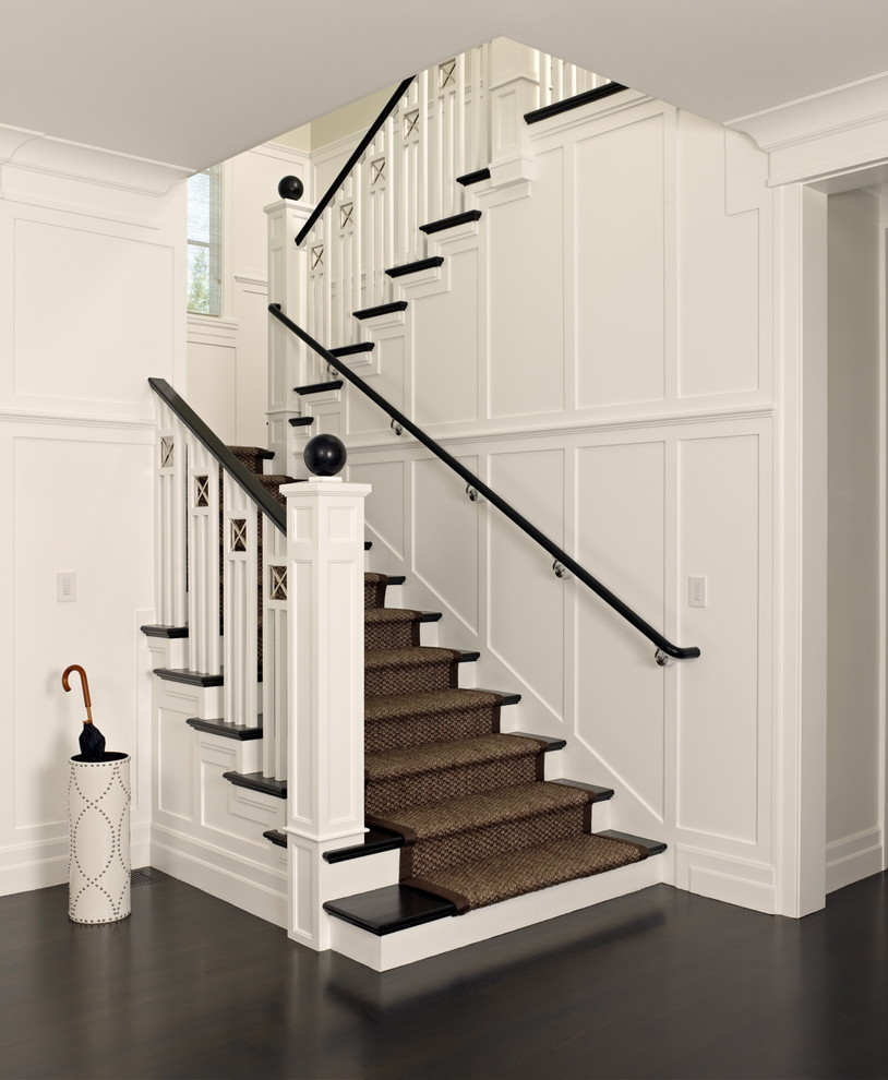 Staircase - victorian wooden u-shaped staircase idea in San Francisco
