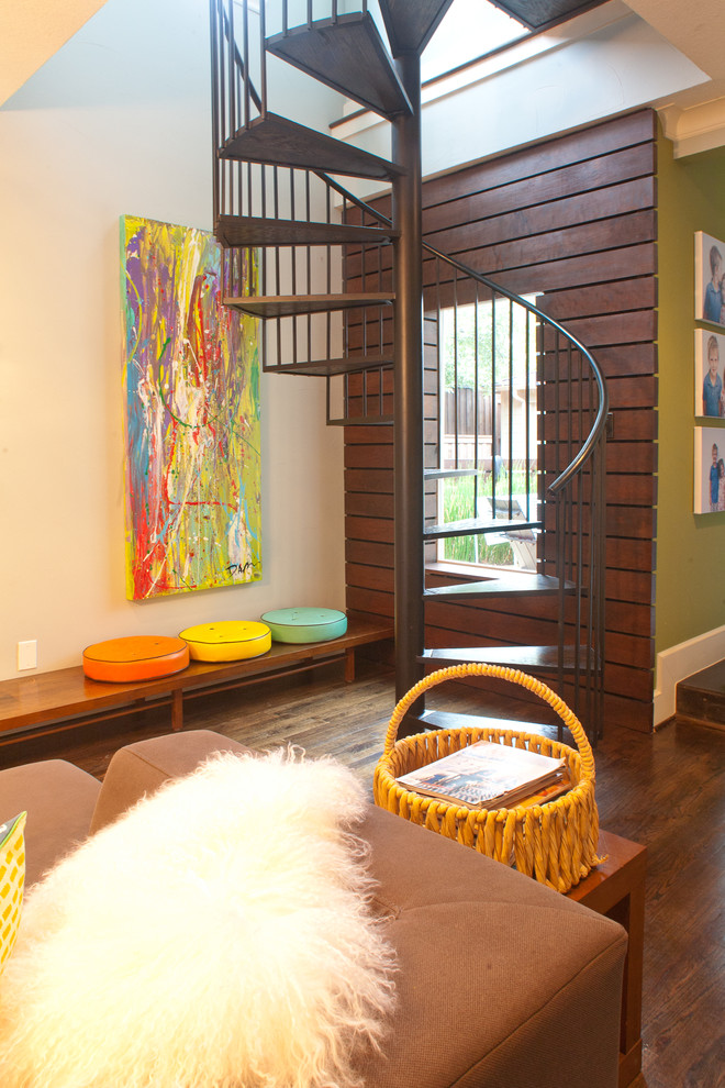 Example of a trendy spiral staircase design in Dallas