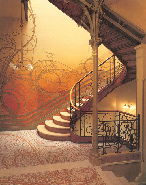 victor horta hotel tassel staircase traditional-staircase